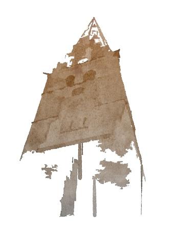 Akvarel af kirketårn