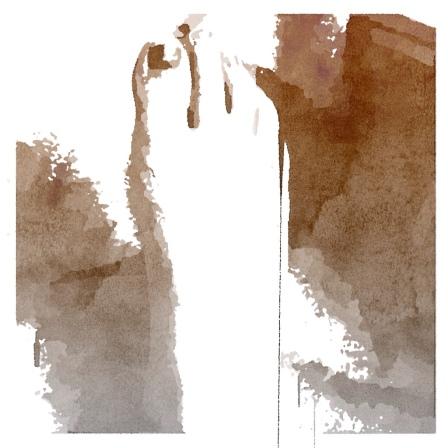 Billede af fod i sepia - akvarel