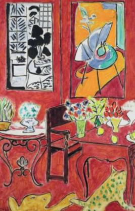 Screenshot Matisse app - stort rødt interiør